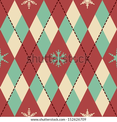 Vector pattern with rhombus and snowflakes - stock vector