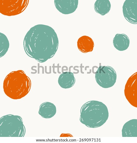 Vector pattern with round hand drawn dots stroke, brush, paint, background - stock vector