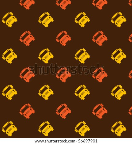 Vector pattern with school bus - stock vector