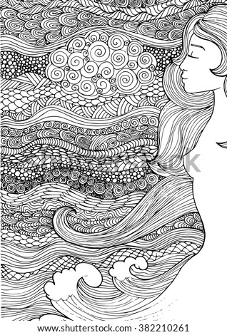 Vector pattern with sea waves, beautiful girl and zentangle background. Pattern for invitations, posters, antistress coloring. flayers, spa, beauty salons