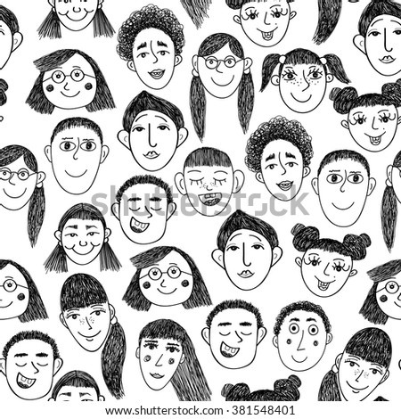 Vector pattern with smile children faces. - stock vector