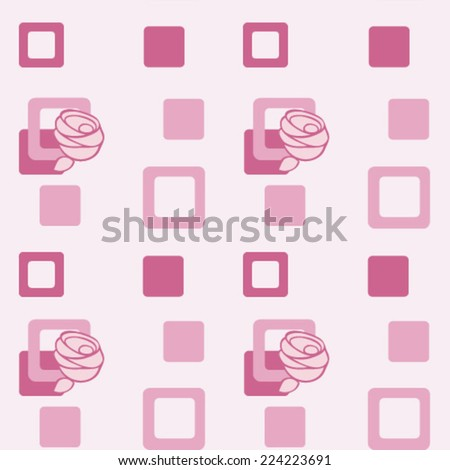 Vector pattern with stylized rose and square.