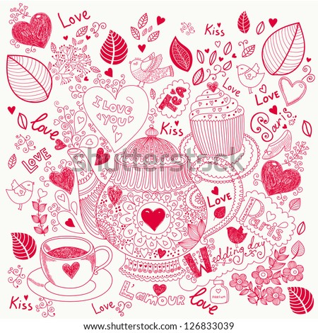 Vector pattern with tea pot, cup and cake