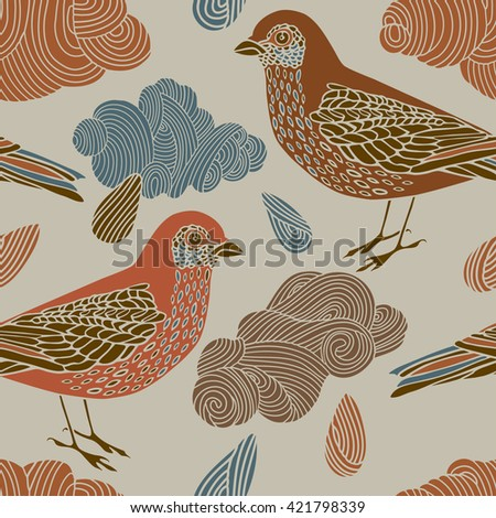 Vector pattern with wild bird, clouds and raindrops in vintage style. - stock vector