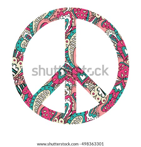 Vector Patterned Peace Sign Hippy Happiness Stock Vector 2018