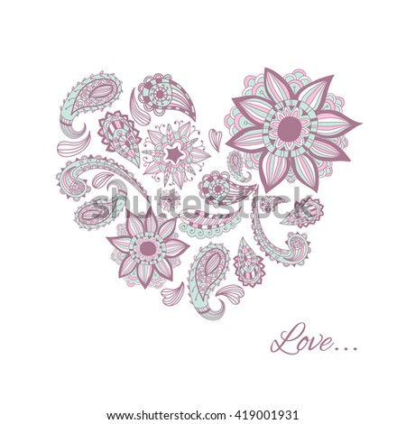 Vector patterns painted by hand. Beautiful doodle. Design elements. Heart. - stock vector