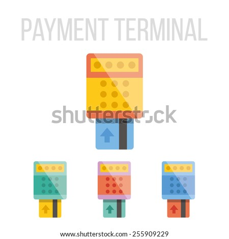 Vector payment terminal icons set. Isolated on white background. - stock vector