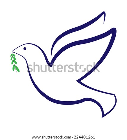 Vector peace dove with olive leafs religion symbol - stock vector