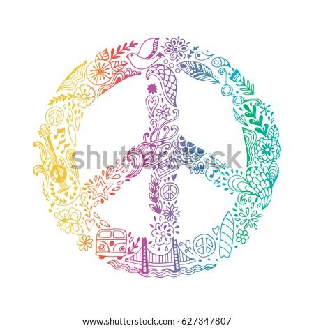 Vector Peace Symbol Made Hippie Theme Stockvector 627347807