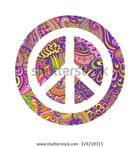 Vector peace symbol made of zentangles, pacifism sign. Hippie style ornamental background. Love and peace, hand-drawn doodle background. Colorful peace symbol on white background. Retro 1960s, 70s - stock vector