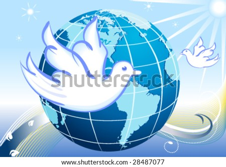Vector Peace to the World with our planet and white doves