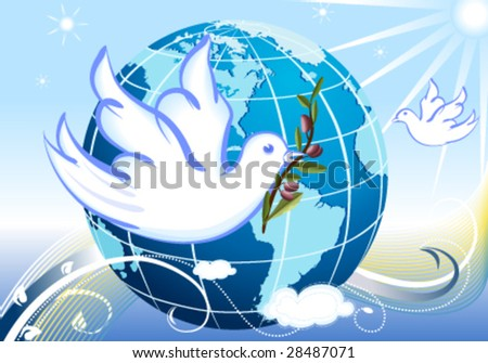 Vector Peace to the World, with white doves and a branch of olives tree.