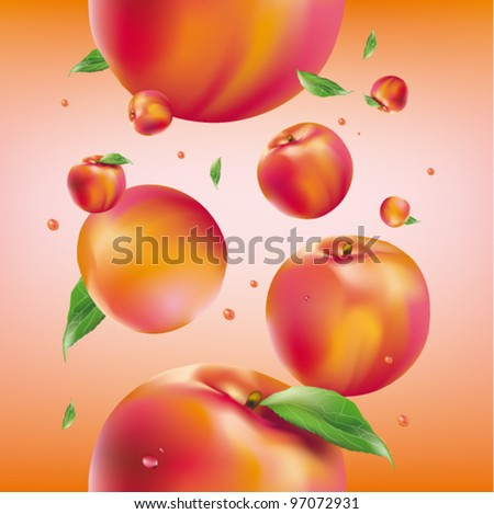 vector peach seamless pattern - stock vector