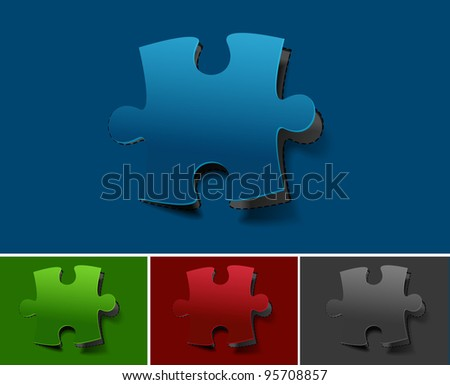 vector peel off puzzle web icon design element. - stock vector