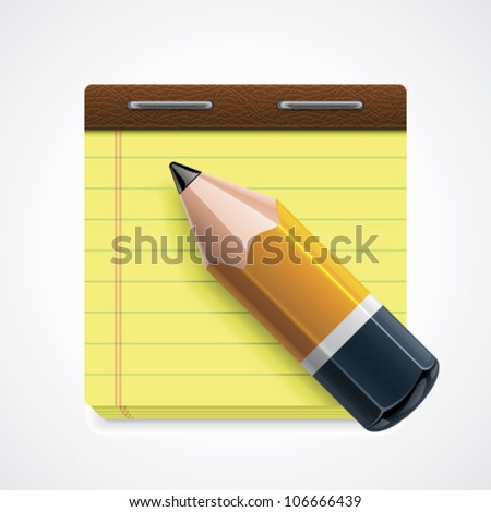 Vector pencil and notepad icon - stock vector