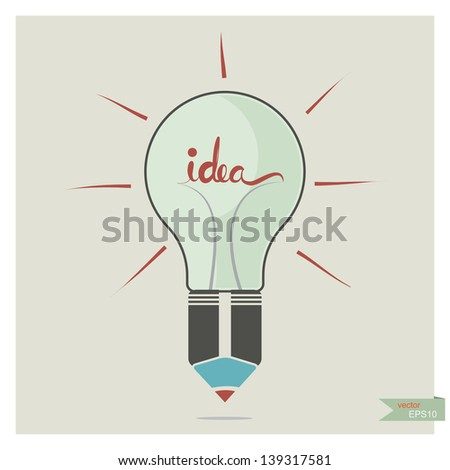 Vector pencil creative idea with light bulb  - stock vector