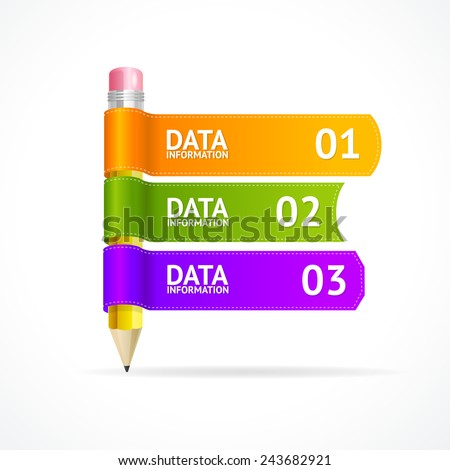 Vector pencil for text, infographics options banner on white - stock vector
