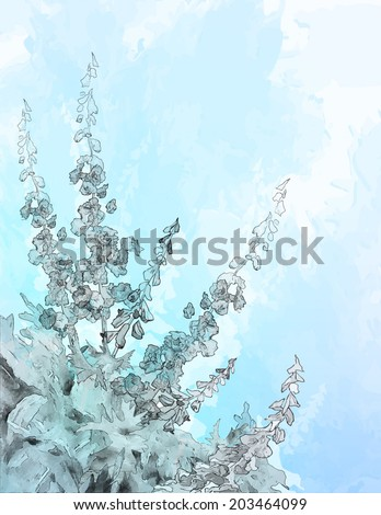 Vector pencil or ink sketch drawing flowers on abstract blue watercolor background with subtle grunge texture - stock vector