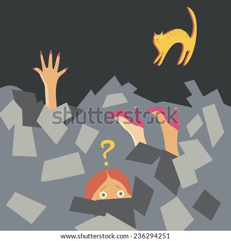 Vector. People buried under a pile of advertising. Trash, litter, garbage in the city.  - stock vector