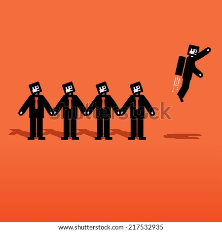 Vector people chain with one flying - stock vector