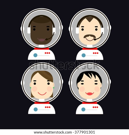 vector people face icon flat set man woman nationality biker hipster casual posh - stock vector