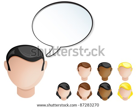 Vector - People Heads Speech Bubble. Set of 4 hair and skin colors - stock vector