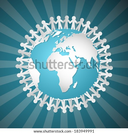Vector People Holding Hands Around Globe  - stock vector