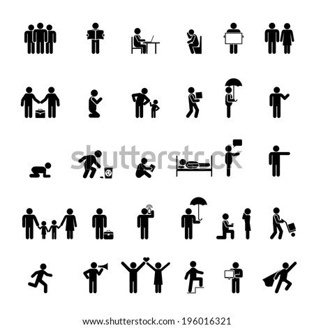 Vector people icons in various poses. Family, love and interaction - stock vector