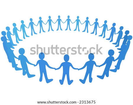 Vector - People In Circle - stock vector
