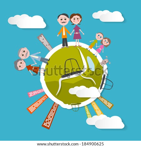 Vector People on Green Globe Illustration with Blue Sky Background - stock vector