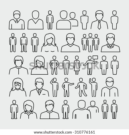 Vector people outline icons  - stock vector