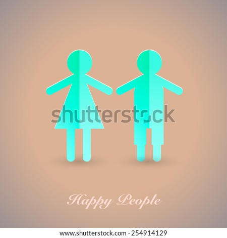 Vector people pictogram. Flat icon of a happy family. A man and a woman.  - stock vector