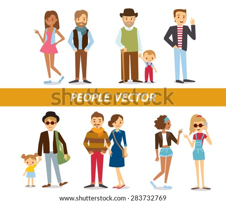vector people's characters  at the simple style - stock vector