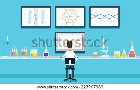 vector people scientists research in laboratory process - stock vector