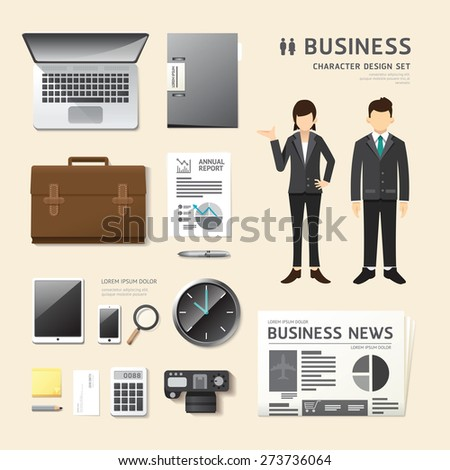 Vector people set business job character stock vector for Character designer job