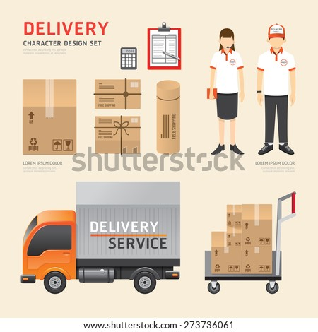 Vector people set  delivery service job character icons flat style with objects. design layout set of corporate identity mock up template. illustration women, men in uniform. graphic for infographic. - stock vector