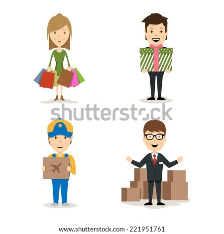 Vector People shopping characters with a woman with bags  a man holding a gift  a deliveryman with an airfreight package  and a salesman doing a promotion of products - stock vector