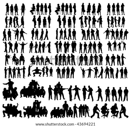 Vector people silhouettes - stock vector