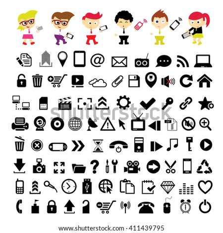 vector people using mobile and technology icon set