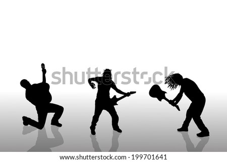 Vector people with guitar silhouette on a white background. - stock vector