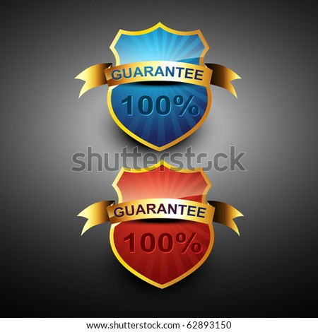 vector 100 percent guarantee icon in golden color - stock vector