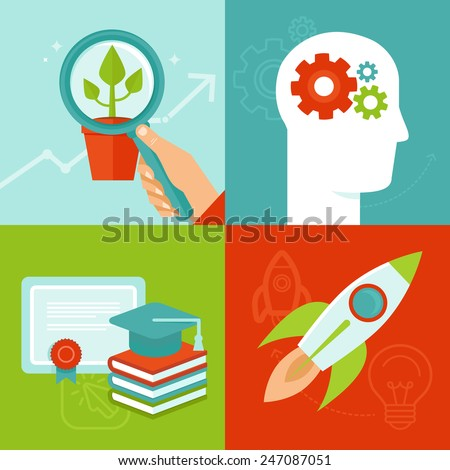 Vector personal development concepts in flat style - education and improvement - stock vector
