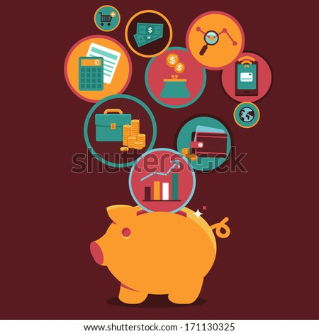 Vector Personal Finance Control and management - icons and sign in flat style - stock vector