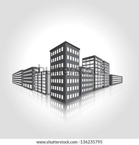 vector perspective of the city, the lights in the windows - stock vector