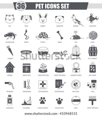 Vector Pet animal black icon set. Dark grey classic icon design for web. Pet icons black, Pet icons collection, Pet icons set, Pet icons image, Pet icons concept, Pet friend icons, Pet home icons - stock vector