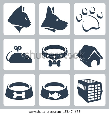 Vector pet icons set: cat, dog, pawprint, mouse, collar, kennel, bowls, cage - stock vector