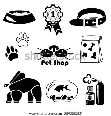 Vector pet shop icon set . - stock vector