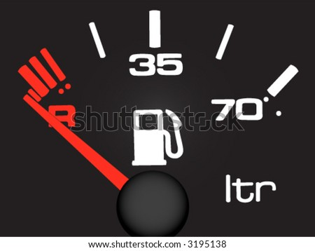 Vector. Petrol meter on the black background.