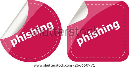 vector phishing word with lock on black stickers set - stock vector