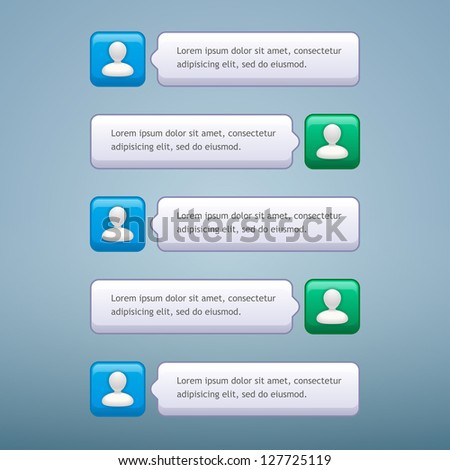 Vector phone chat bubbles with user icon in green and blue colors - stock vector
